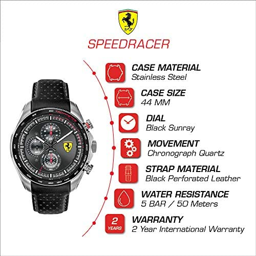 Ferrari Men's SPEEDRACER Stainless Steel Quartz Watch with Leather Calfskin Strap, Black, 21 (Model: 0830648) WeeklyReviewer