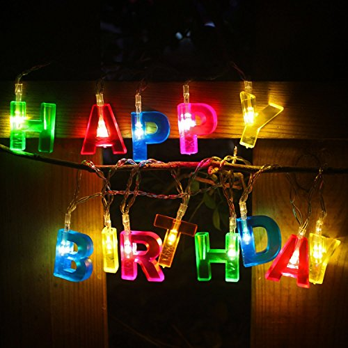 Happy Birthday lights - 13 LED Letter Battery Operated String Lights by RECESKY 6ft Birthday Party Decor Supplies for Indoor, Home, House, Christmas Lighting, Birthday Decorations (Multi Color) (Storing Icicle Lights)
