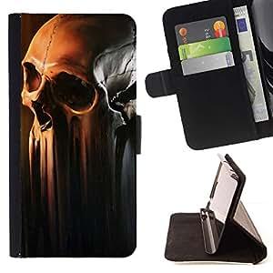Momo Phone Case / Flip Funda de Cuero Case Cover - Cráneo del arte de fusión Decomposing Muerte Cabeza del hueso - Samsung Galaxy S5 Mini, SM-G800