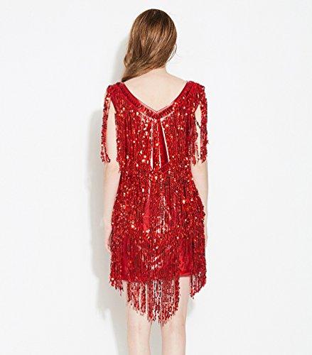 NiSeng Mujeres Sin Mangas Vestido Borlas Lentejuelas Mini Vestido Moda V-Cuello Vestido De Cóctel Danza Vestido Rojo