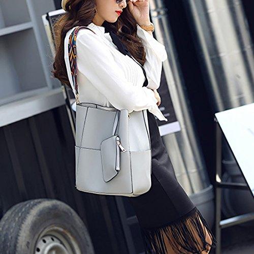 YYWFaux Leather Tote Bag - Bolso de mano grande Mujer gris claro