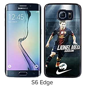 Soccer Player Lionel Messi Black Samsung Galaxy S6 Edge Screen Cover Case Luxurious and Fashion Design