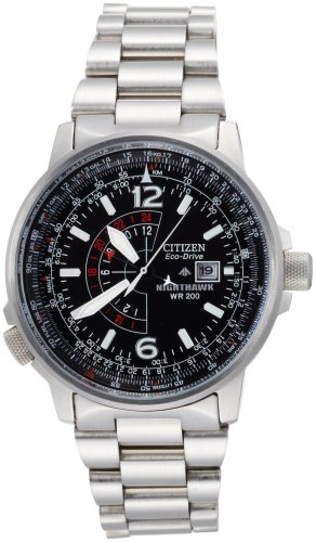 Citizen Mens  BJ7000-52E Nighthawk Stainless Steel Eco-Drive Watch