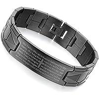 Flongo Men's Vintage Stainless Steel Black Cross Silver English Bible Lords Prayer Religious Link Wrist Bracelet