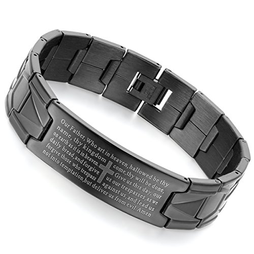 (Flongo Men's Vintage Stainless Steel Black Cross Black English Bible Lords Prayer Link Wrist Bracelet, 8.3)