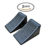 Mig Att Solid Rubber Wheel Chock Blocks, Heavy Duty Black Rubber, 2 Pack Set (Middle (6.5'' x 3.8'' x 3.8''))