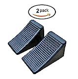 Mig ATT Solid Rubber Wheel Chock Blocks, Heavy Duty Black Rubber, 2 Pack Set (Middle (6.5'' x 3.8'' x 3.8''))