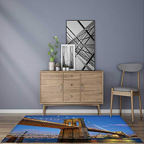 Modern Carpet Home Decoration Collection Brooklyn Bridge at Twilight in New York City East River Modern Metropolis Anti-Static, Water-Repellent (Gold Collection Twilight Bridge)