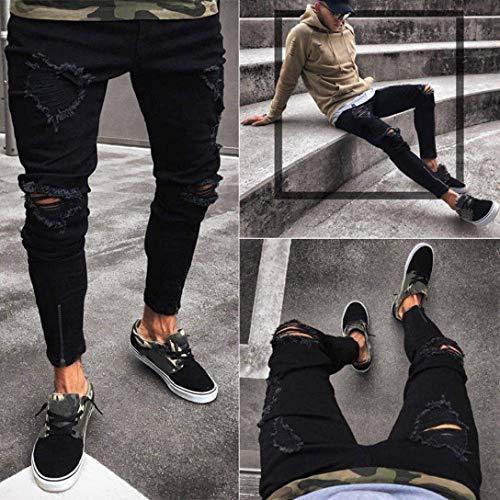 Pantaloni Haidean Stretch Nero Denim Slim Da Skinny Casual Sfilacciati Con Strappati Uomo Jeans Cerniera Moderna CfC4wrqvx