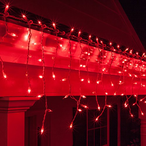 "Kringle Traditions 150 Red Mini Icicle Light Set with White Wire, 14"" supplier"
