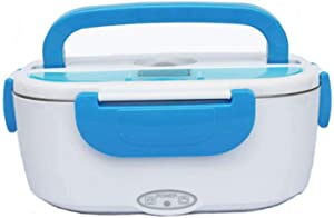 Electric Lunch Box, Portable Food Warmer Heating, Removable Food-Grade Stainless Steel Heater Container, 12V-24V 110V-220V 40W Adapter, Car Truck Home Work Use,Spoon and 2 Compartments Included