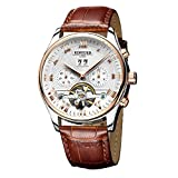 KINYUED Men's Fashion Tourbillon Automatic Movement Mechanical Wrist Watches Classic Rose Gold Day Date Calendar Black Leather Band with Black Dial