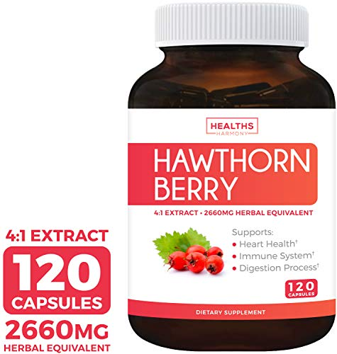 Hawthorn Berry 4:1 Extract (120 Capsules) Supports Healthy Blood Pressure, Circulation, Heart Health & Immune System - Powerful Antioxidant Hawthorne Supplement (Best Hawthorn Berry Extract)