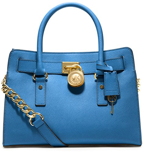 Michael Kors Hamilton Ew Satchel Heritage Blue Leather