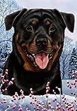Best of Breed Rottweiler Winter Berries Garden Flag