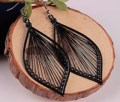Leiothrix Woven Silk Geometrical Earrings Jewelry in Ellipse for Women and Girls