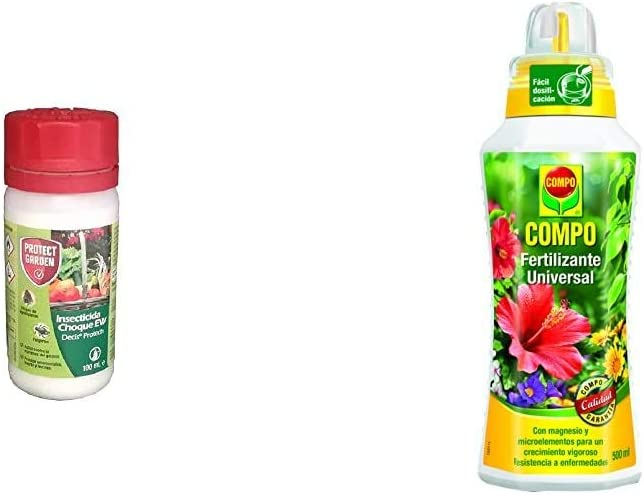 PROTECT GARDEN Decis Protech - Insecticida polivalente Concentrado para Ornamentales, 100ml + Compo Calidad para Plantas Ornamentales de Interior o terraza, 500 ml