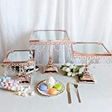 Efavormart Set of 3 Rose Gold Square Mirror Top Cup Cake Riser Centerpiece Stand Wedding Birthday Party Dessert Rise Cake Stand