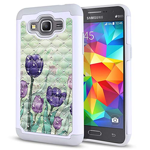 FINCIBO Case Compatible with Samsung Galaxy Grand Prime G530, Dual Layer Shock Proof Hybrid Protector Case Cover TPU Sparkle Rhinestone Bling for Galaxy Grand Prime G530 - Tulips Flowers