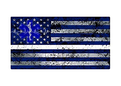 JMM Industries EMS EMT American Flag Star of Life Emblem Life Line Vinyl Decal Sticker Thin White Line Paramedic Ambulance Medic 5-inches by 3-inches Premium Quality UV Resistant Lamination PDS029