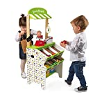 Janod Green Market Wooden Grocery Stand with 32