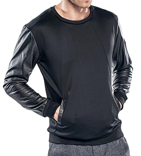 Nice Spirio Men Stylish Pockets PU Patchwork Contrast Color Pullover Sweatshirt for cheap