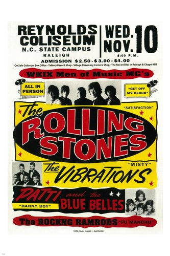 1965 THE ROLLING STONES + R&B @ REYNOLD'S COLISEUM concert poster 24X36