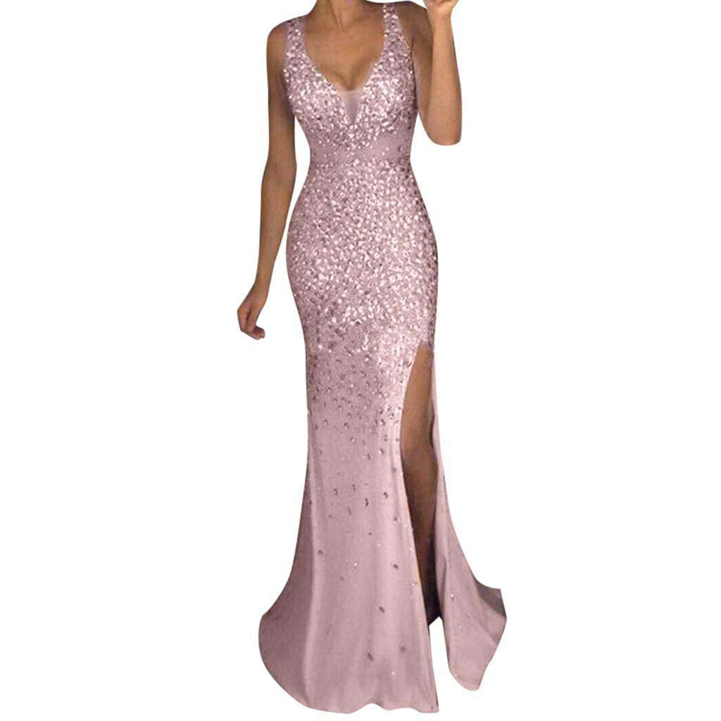 Nmch Women Sequin Prom Party Sexy V Neck Slit Bodycon Long Dress Ball Gown Sleeveless Evening Club Bridesmaid Dresses(Pink,L)
