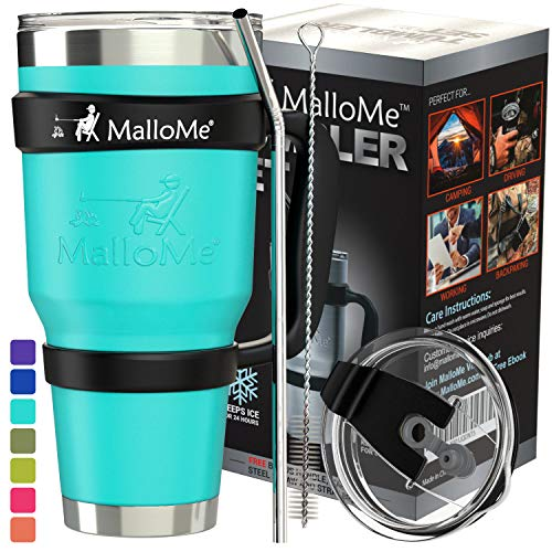 MalloMe Stainless Steel Vacuum Insulated 6-Piece Tumbler Set, Aqua Teal 30 oz