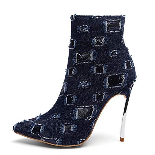 Faux L taglia 33 Caviglia Chunky yc Chiusura Alla Punta 43 Con B Heels High fashion Chiusa Donne Stivali gA7Wnvgq