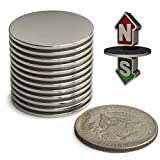 "Neodymium Magnets N52 Super Strong – Pack of 12 Powerful Rare Earth Magnets – Round 1.26""D x 0.06"" Thin Magnetic Discs – Craft, Science or DIY Magnets"