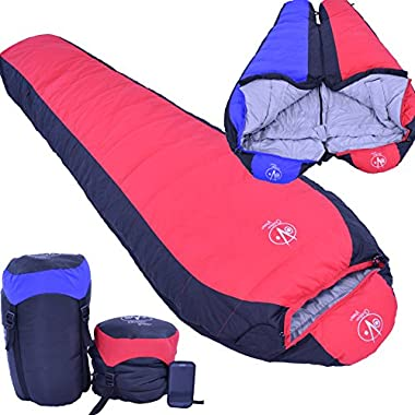 Outdoor Vitals 15 Degree Down Sleeping Bag, Mummy Style, 3 Season, Lightweight (Red)