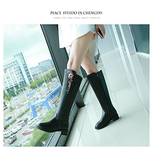 Btrada Womens Over The Knee Thigh High Boots Wide Calf Chunky Block Size Zipper Low Heel Riding boots Black yl8DO
