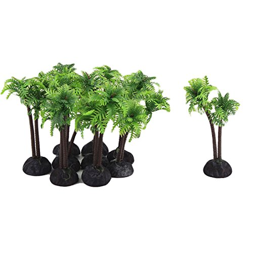 uxcell Garden Pond Aquarium Fish Tank Coconut Palm Decor Handmade Plant 10pcs Green