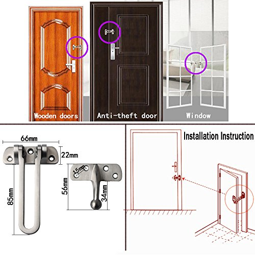 Alise SUS 304 Stainless Steel Gate Latches Swing Bar Door Guard Burglar-Proof Padlock Door Clasp,MS550 Brushed Finish by Alise (Image #2)