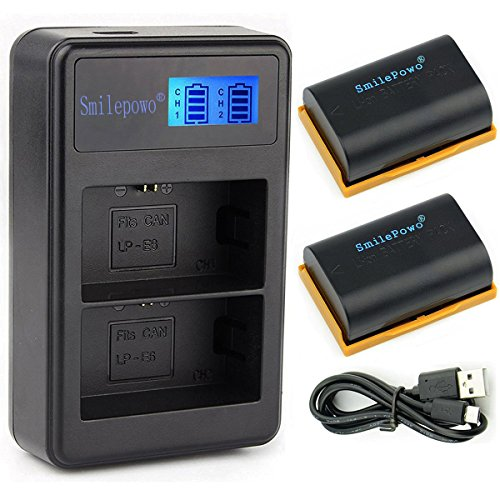 (SmilePowo TWO LP-E6,LP-E6N Battery and Charger for Canon EOS 80D,70D,60D,7D,6D,5Ds,5D Mark III, 5D Mark II,SLR Camera,BG-E14,BG-E13, BG-E11,BG-E9, BG-E7, LC-E6,BG-E6,Battery Grip)