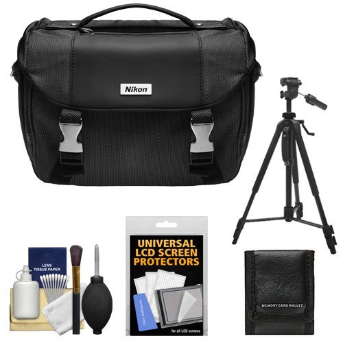 Nikon Deluxe Digital SLR Camera Case - Gadget Bag with Nikon 60'' Tripod + Cleaning Kit for D7000, D5100, D5000, D3200, D3100, D800, D90, D60, D40 & D4 by Nikon