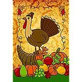 Lantern Hill Thanksgiving Turkey House Flag; Double Sided; 28 x 40 inches; Bountiful Harvest Pumpkin Apples Cornucopia Seasonal Decorative Banner