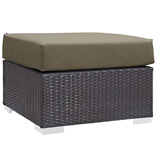 (Modway Convene Wicker Rattan Outdoor Patio Square Ottoman in Espresso Mocha)