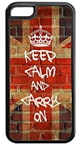Keep Calm and Carry On-Union Jack-Graffiti/Wall Art Case for the APPLE IPHONE 5C ONLY-Hard Black Plastic Outer Case