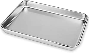 TIEZI Stainless Steel Baking Pans Toaster Oven Tray Kitchen Steamer Toaster Cookie Cookware Easy Clean(22.8x14.8x1.2cm)