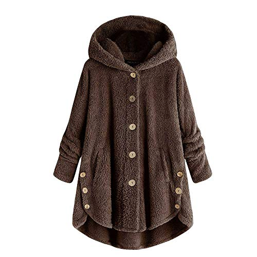 Mysky Fashion Women Simple Pure Loose Long Coat Sweatshirt Ladies Casual Fluffy Button Hooded Pullover Jacket Coffee]()