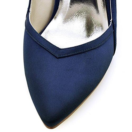 ElegantPark HC1603 Women's Pointed Toe High Heel V Cut Slip on Satin Dress Pumps Navy Blue US 9.5 by ElegantPark (Image #4)
