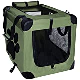 Cheap EXPAWLORER Collapsible Foldable Dog Crate, Indoor/Outdoor Cat Home, Deluxe Pet Carrier, Reduces Anxiety Green Medium 24-Inch