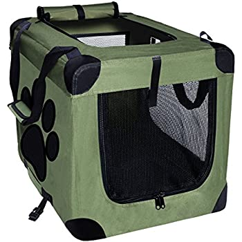 EXPAWLORER Collapsible Foldable Dog Crate, Indoor/Outdoor Pet Home, Deluxe Pet Carrier, Green Medium 24-Inch