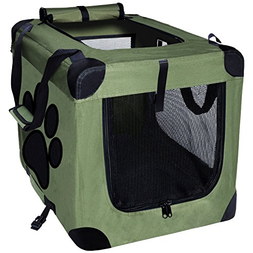 EXPAWLORER Collapsible Foldable Dog Crate, Indoor/Outdoor Cat Home, Deluxe Pet Carrier, Reduces Anxiety Green Medium 24-Inch
