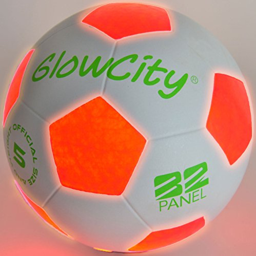 GlowCity Light Up LED Soccer Ball - Uses 2 Hi-Bright LED Lights, Size 5 (Cleats Soccer Green And White)