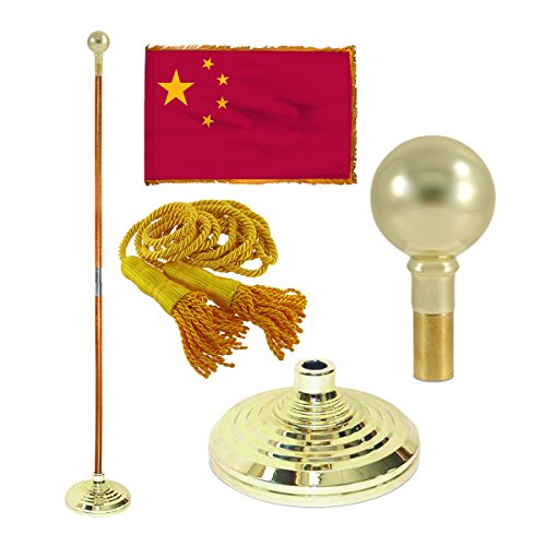 Online Stores China 3ft x 5ft Flag, Flagpole, Base, and Tassel (7 Ft Oak Pole, Parade Ball)