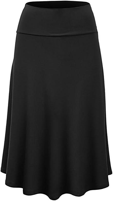 MOMOXI Faldas para Mujer, Mujeres Tallas Grandes Solid Flare ...