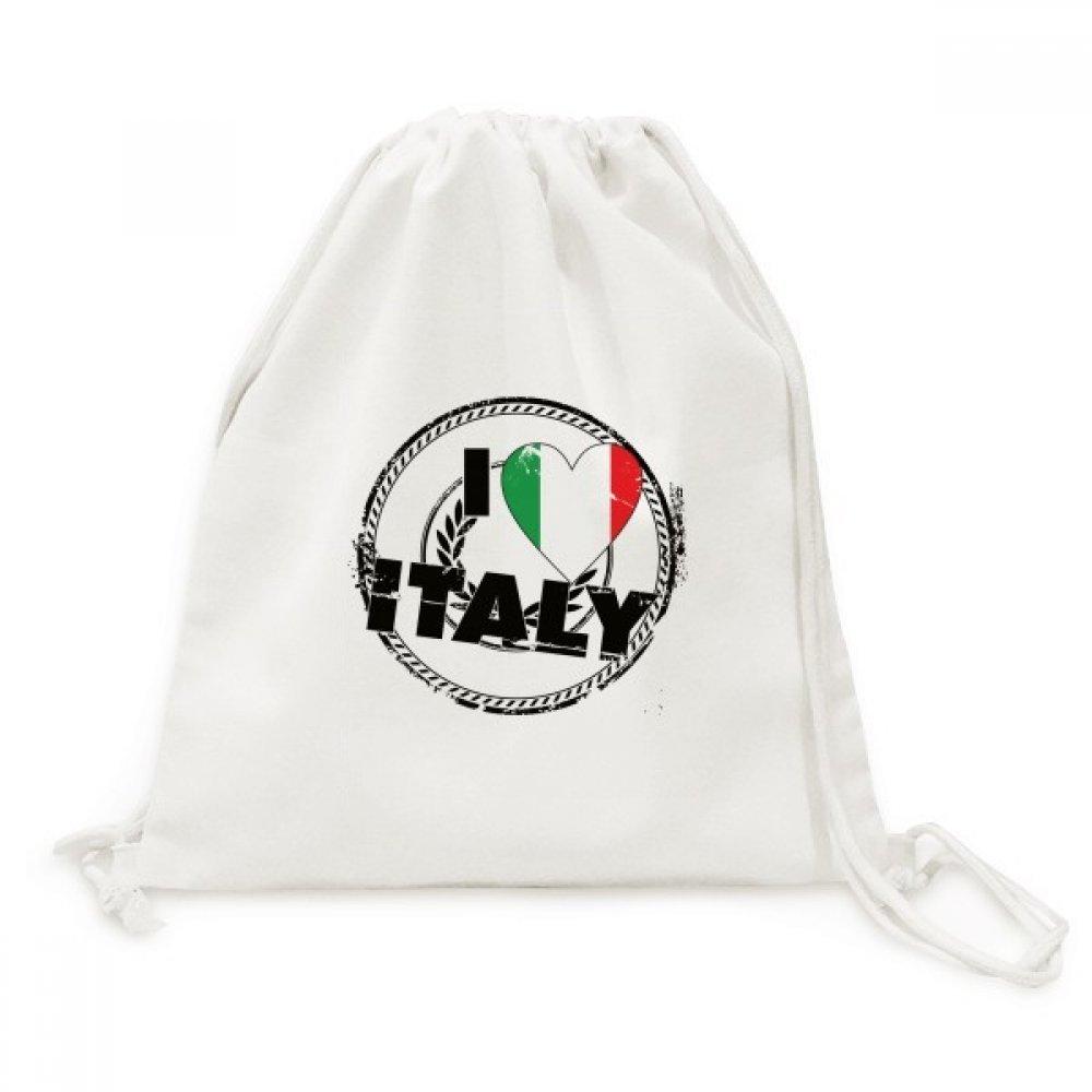 I Love Italy Word Flag Love Heart Pattern Canvas Drawstring Backpack Shopping Travel Lightweight Basic Bag Gift